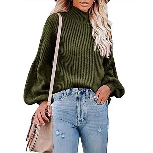 Army Green Solid Turtleneck Lantern Sleeve Pullover Sweater TQK271348-27