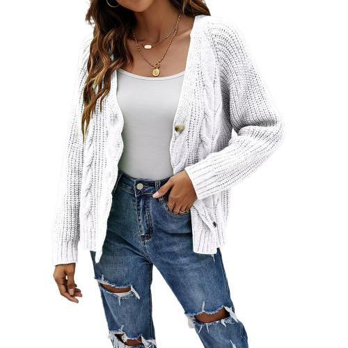 White Button Cable Knit Short Cardigan TQK271354-1