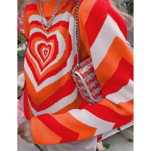 Orange Rainbow Heart Print Color Block Sweater TQK271353-14