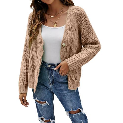 Khaki Button Cable Knit Short Cardigan TQK271354-21