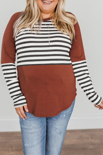 Striped Colorblock Plus Size Long Sleeve Top LC2519937-17