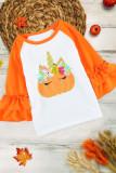 Pumpkin Print Colorblock Ruffled 3/4 Sleeve Girl's Shirt TZ25661-14