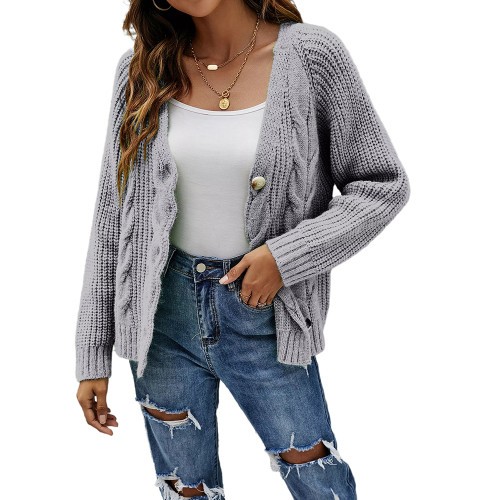 Gray Button Cable Knit Short Cardigan TQK271354-11