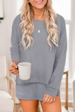 Grey Ribbed Knit Drop-Shoulder Sleeve Top and Shorts Lounge Set LC4511929-11