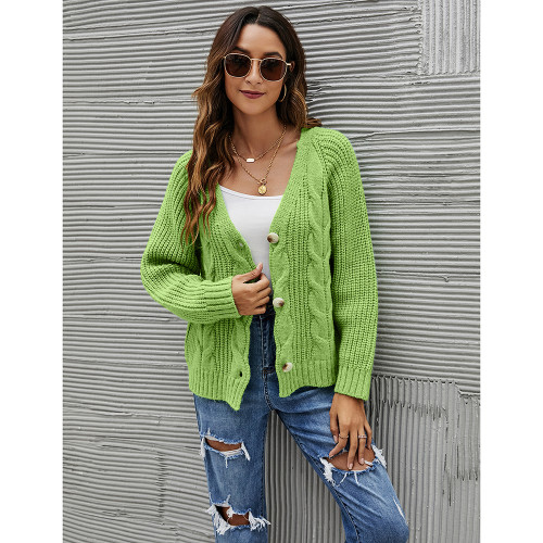 Green Button Cable Knit Short Cardigan TQK271354-9