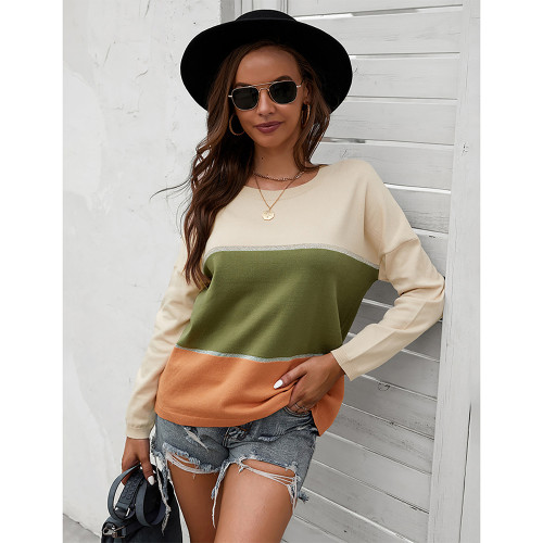 Army Green Round Collar Color Block Sweater TQK271352-27