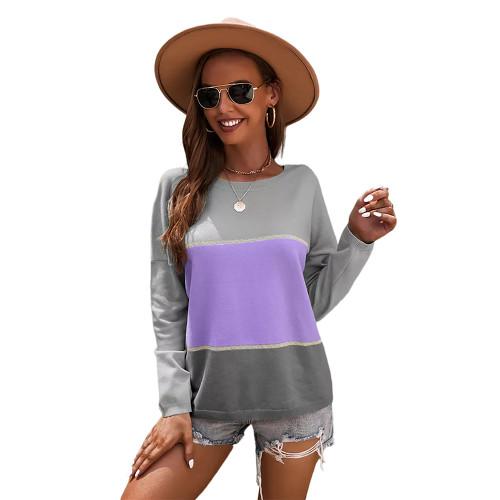 Purple Round Collar Color Block Sweater TQK271352-8