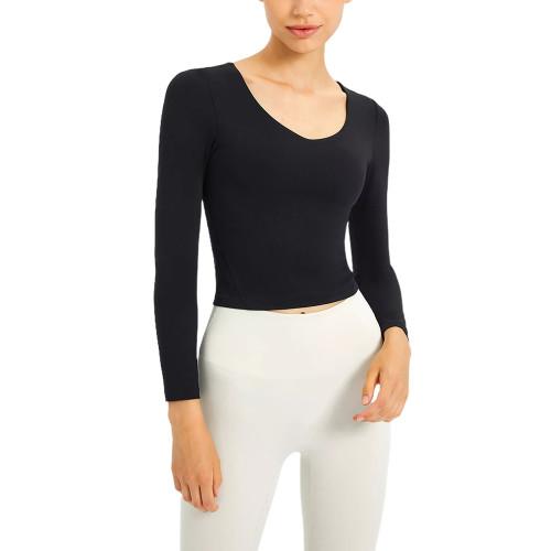 Black Slim Fit Padded Long Sleeve Yoga Tops TQE61579-2