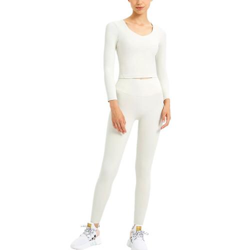 White Slim Fit Padded Long Sleeve Yoga Tops TQE61579-1