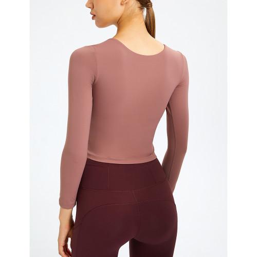 Cameo Slim Fit Padded Long Sleeve Yoga Tops TQE61579-47