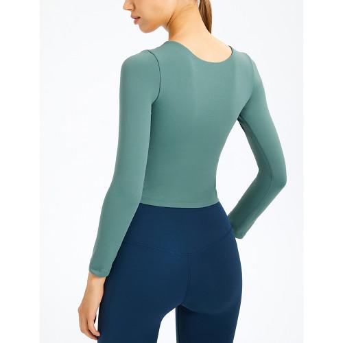Green Slim Fit Padded Long Sleeve Yoga Tops TQE61579-9