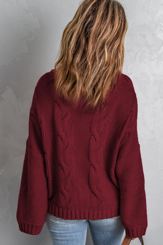 Wine Solid Turtleneck Cable Knit Pullover Sweater LC2721195-3