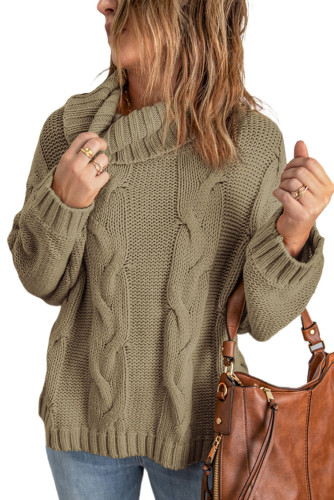 Khaki Solid Turtleneck Cable Knit Pullover Sweater LC2721195-16