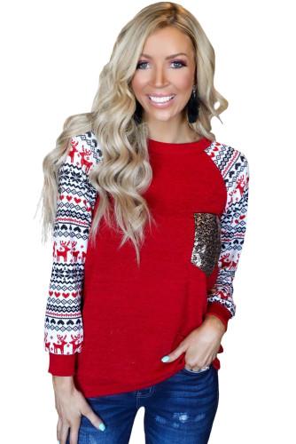 Red Christmas Print Sleeve Sequin Pocket RaglanTop LC25110894-3