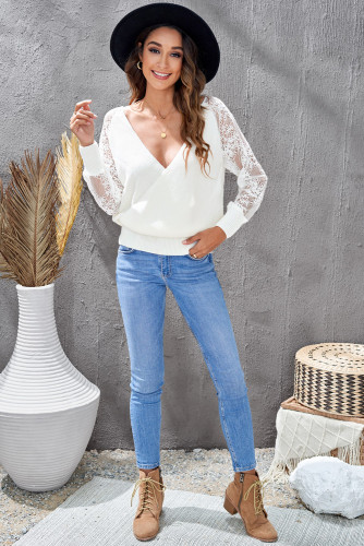 White Sexy V Neck Surplice Hollow-out Sweater with Lace Sleeves LC2721133-1