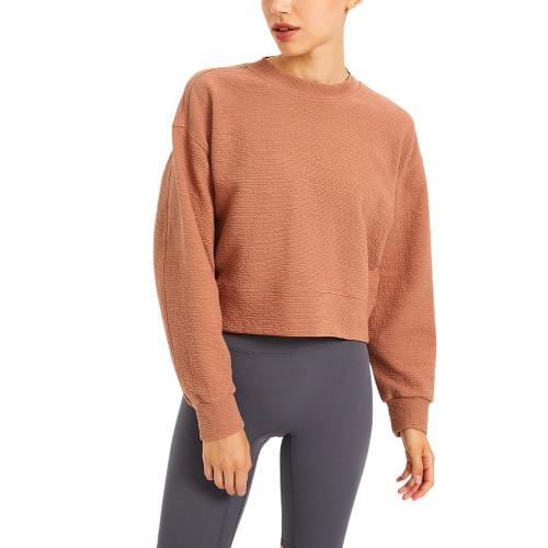 Warm Red Brown Long Sleeve Short Style Running Yoga Sweatshirt TQE61580-218