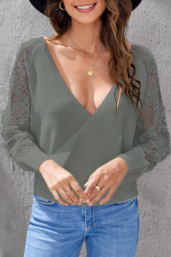 Gray Sexy V Neck Surplice Hollow-out Sweater with Lace Sleeves LC2721133-11