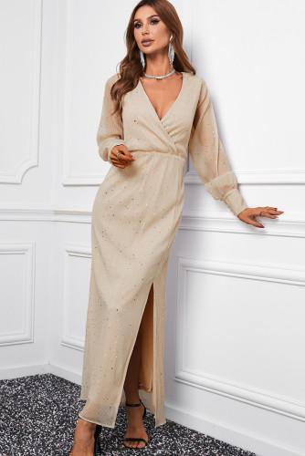 Apricot Side Split Rhinestone V Neck Maxi Dress LC616380-18