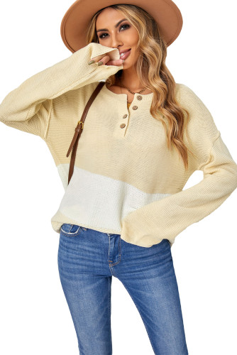 Khaki Splicing Buttoned Knitted Long Sleeve Sweater LC2721362-16