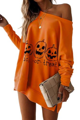Halloween Pumpkin Letter Print Sweatshirt Mini Dress LC2210079-14