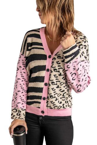 Pink Animal Print Buttons Cardigan LC271336-10