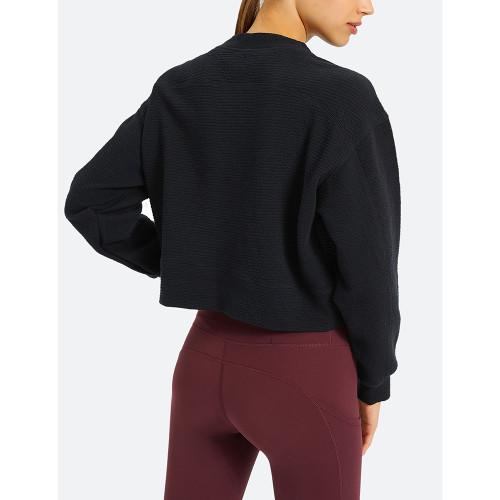 Black Long Sleeve Short Style Running Yoga Sweatshirt TQE61580-2