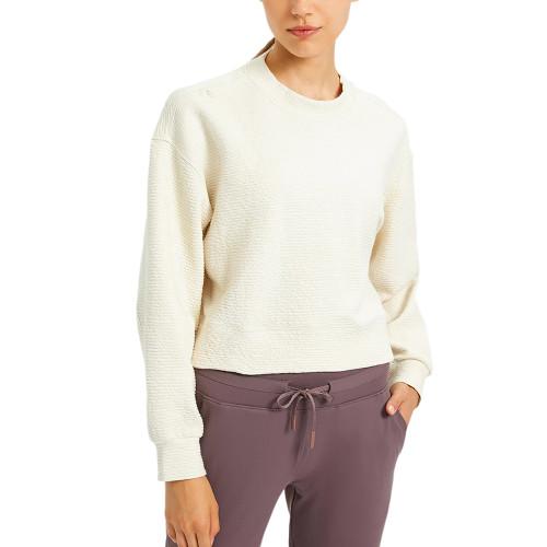 White Long Sleeve Short Style Running Yoga Sweatshirt TQE61580-1