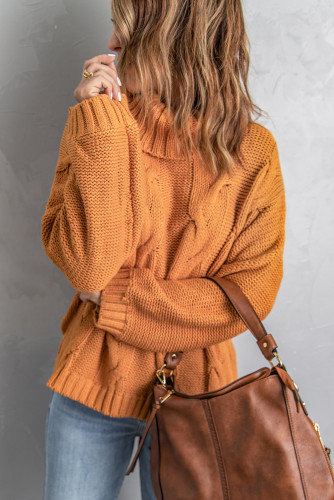 Yellow Solid Turtleneck Cable Knit Pullover Sweater LC2721195-7