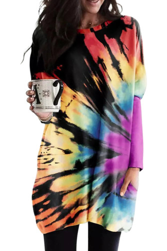 Rainbow Tie-dye Pullover Long Sleeve Tunic LC25110931-22