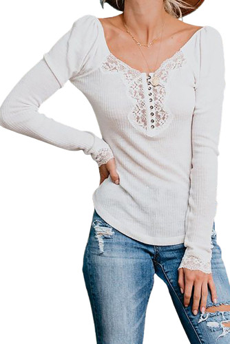 White Lace Patchwork Ribbed Long Sleeve Top LC2518709-1