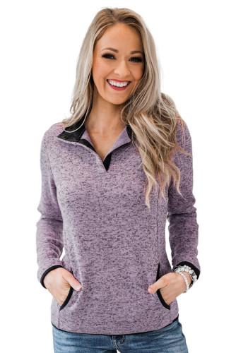 Purple Heathered Turn-down Collar Pullover Sweatshirt LC2537907-8