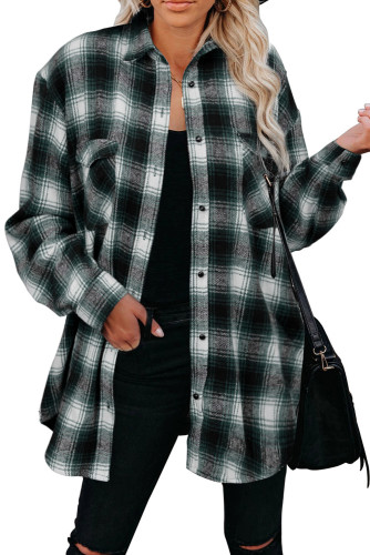 Green Buttons Pocketed Plaid Shacket LC2551469-9