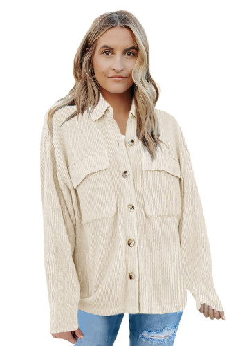 Beige Pocketed Button Ribbed Textured Shacket LC8511383-15