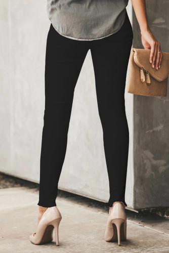 Black Plain High Waist Buttons Frayed Cropped Denim Jeans LC782301-2