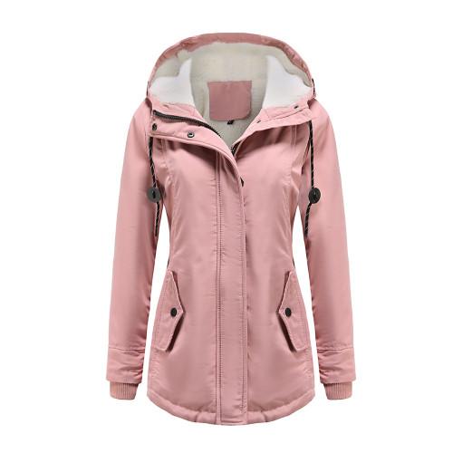 Pink Plush Warm Hooded Parka Coat TQK280128-10