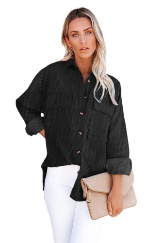 Black Pocketed Button Ribbed Textured Shacket LC8511383-2