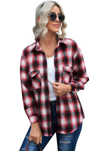 Red Buttons Pocketed Plaid Shacket LC2551469-3