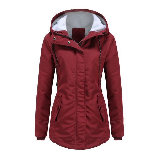 Wine Red Plush Warm Hooded Parka Coat TQK280128-23