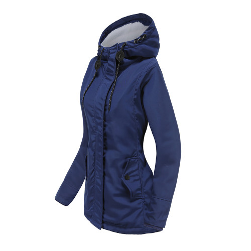 Navy Blue Plush Warm Hooded Parka Coat TQK280128-34