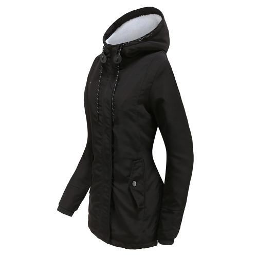 Black Plush Warm Hooded Parka Coat TQK280128-2