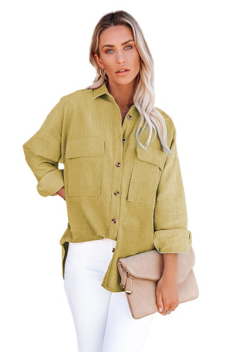 Pocketed Button Ribbed Textured Shacket LC8511383-7