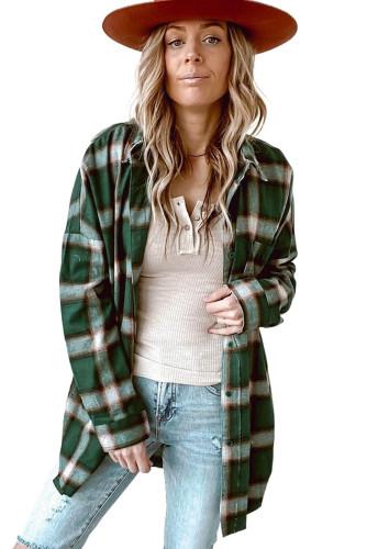 Green Drop Shoulder Plaid Casual Shirt LC2551805-9