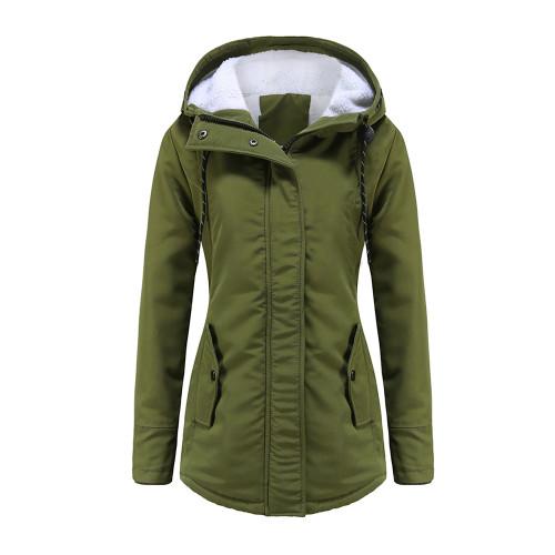 Army Green Plush Warm Hooded Parka Coat TQK280128-27