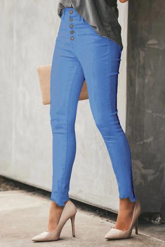 Sky Blue Plain High Waist Buttons Frayed Cropped Denim Jeans LC782301-4