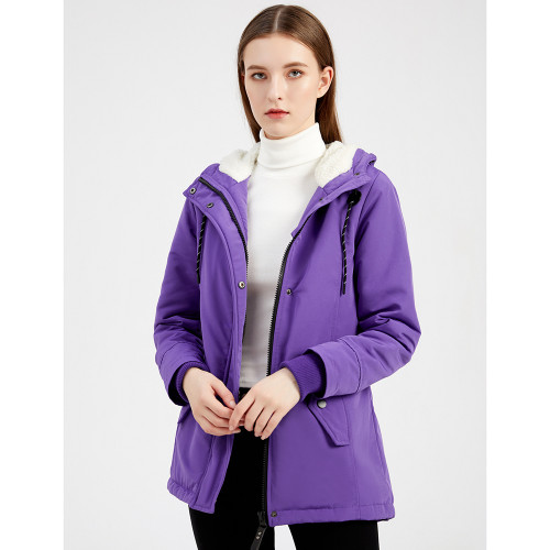 Purple Plush Warm Hooded Parka Coat TQK280128-8