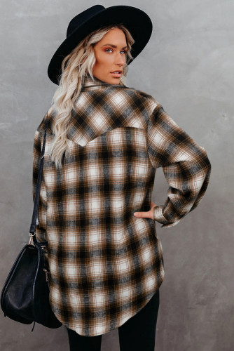 Brown Buttons Pocketed Plaid Shacket LC2551469-17