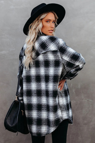 Black Buttons Pocketed Plaid Shacket LC2551469-2