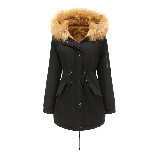 Black Brown Fur Collar Drawstring Waist Warm Hooded Parka Coat TQK280130-2B