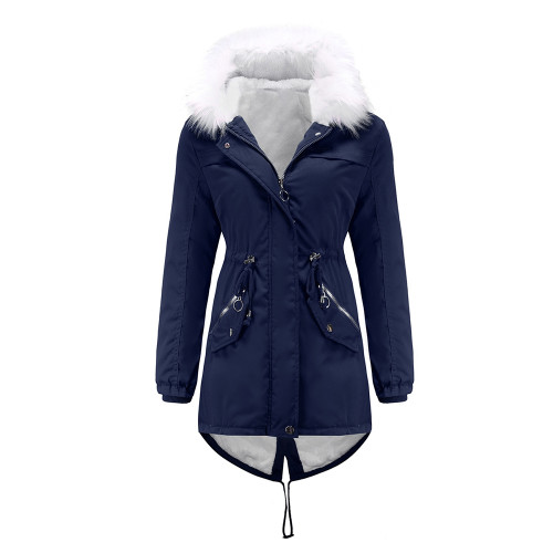 Navy Blue Fur Collar Warm Hooded Parka Coat TQK280129-34