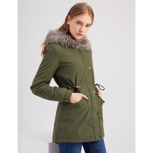 Army Green Fur Collar Drawstring Waist Warm Hooded Parka Coat TQK280130-27